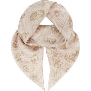 Skull-paisley chiffon silk scarf
