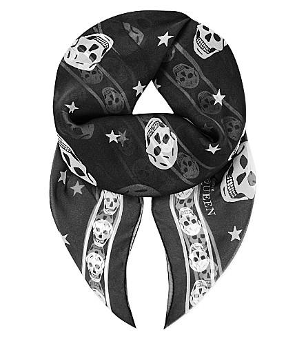 ALEXANDER MCQUEEN Skull & stars silk-chiffon scarf (Black/l.+grey
