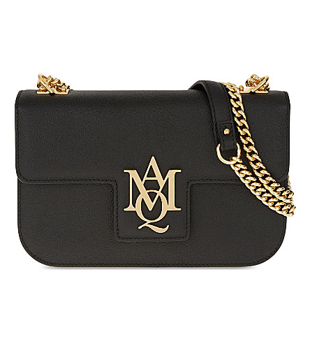 ALEXANDER MCQUEEN AMQ Insignia Chain Leather Satchel (Black