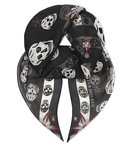 ALEXANDER MCQUEEN Skulls & stars silk chiffon scarf (Black+white