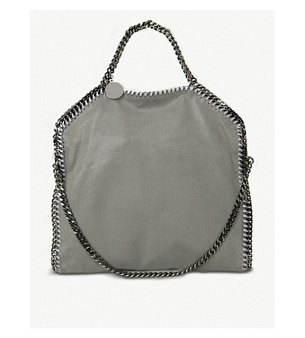 STELLA MCCARTNEY Falabella faux-suede shoulder bag (Light grey