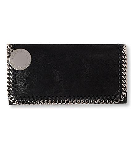 STELLA MCCARTNEY Falabella faux-suede wallet (Black