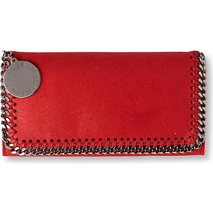 STELLA MCCARTNEY Falabella faux-suede wallet (Cherry