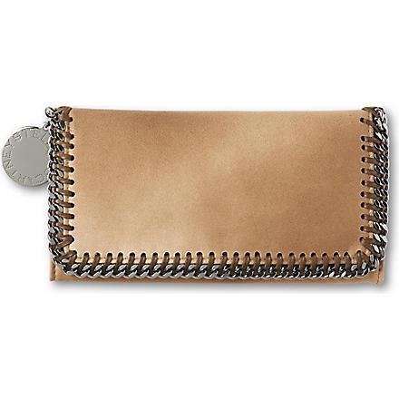 STELLA MCCARTNEY Falabella faux-suede wallet (Fudge