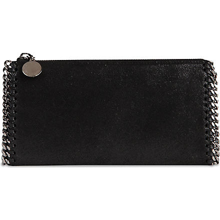 STELLA MCCARTNEY Falabella faux-suede wallet (Black