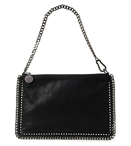 STELLA MCCARTNEY Falabella faux-suede pouch (Black
