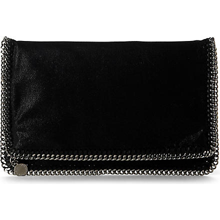 STELLA MCCARTNEY Falabella faux-suede clutch (Black