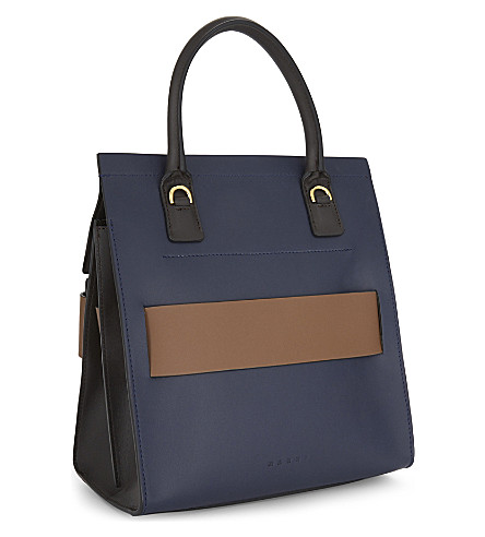 MARNI Leather Shoulder Bag in Blue