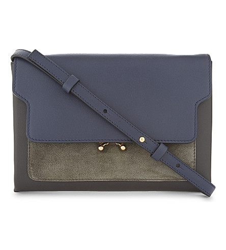MARNI Leather and suede cross-body bag (Blue