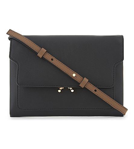 MARNI Trunk pouch leather bag (Black+brown