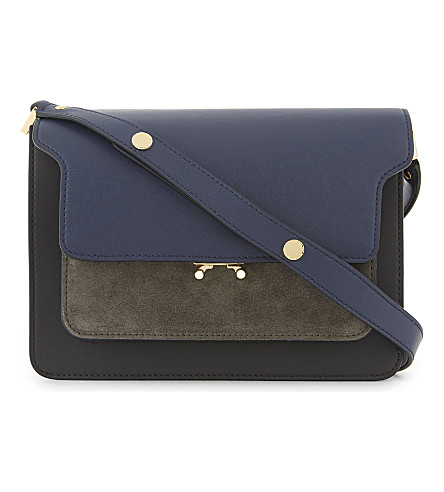 MARNI Leather trunk shoulder bag (Blue+coffee
