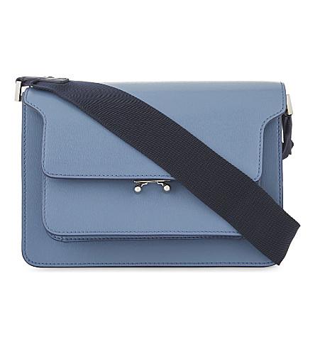 MARNI Leather trunk shoulder bag (Opal+night+blue