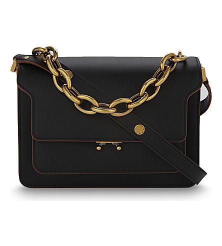 MARNI Trunk medium leather shoulder bag (Black