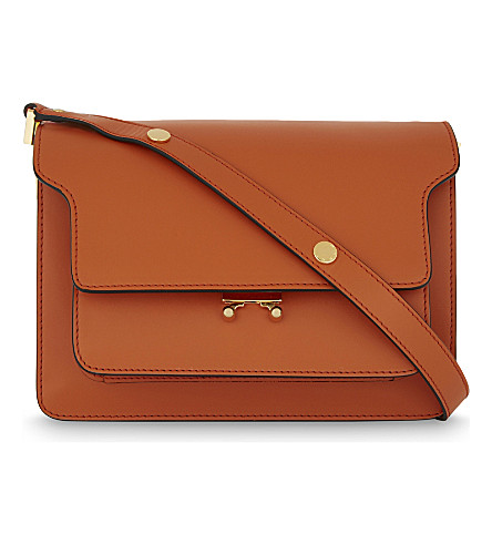 MARNI Trunk medium leather shoulder bag (Arabesque