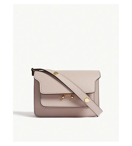 MARNI Trunk small leather shoulder bag (Quartz+pink