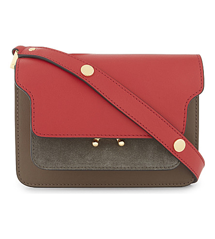 MARNI Small leather and suede cross-body bag (Hot+red+dusty+olive