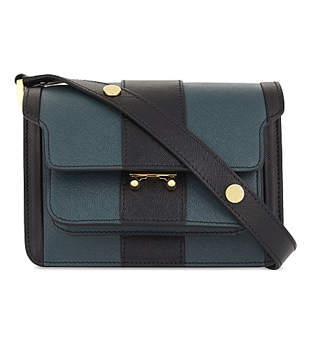 MARNI Saffiano leather cross-body bag (Black+petroleum