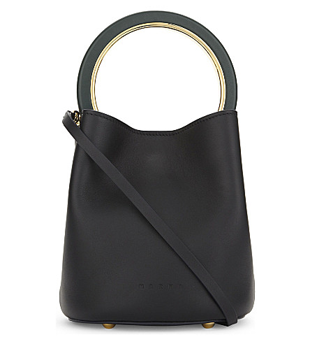 MARNI Logo leather cross-body bag (Black+green