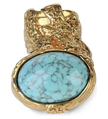 SAINT LAURENT Arty gold-plated ring (Gold/turquoise