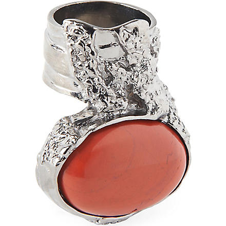 SAINT LAURENT Arty silver-plated ring (Black/dark+rust