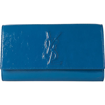 SAINT LAURENT Belle de Jour patent clutch (Azur
