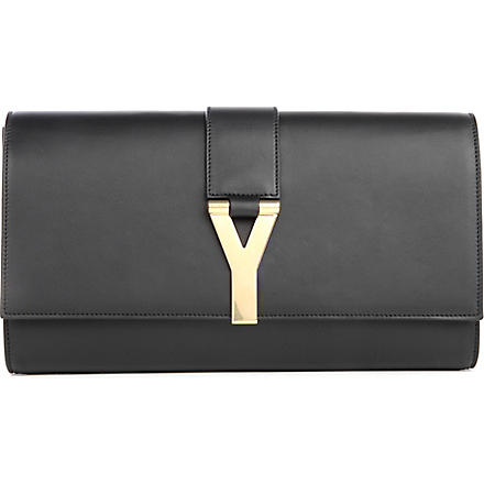 SAINT LAURENT Chyc leather clutch (Noir