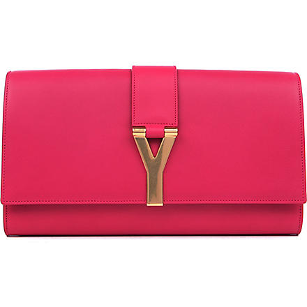 SAINT LAURENT Chyc leather clutch (Pink