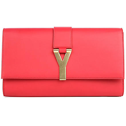 SAINT LAURENT Chyc leather clutch (Rouge