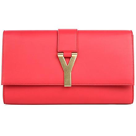 SAINT LAURENT Chyc leather clutch (Rouge