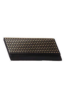 SAINT LAURENT Diagonale studded leather clutch