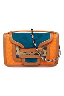 PIERRE HARDY Tri-coloured suede clutch