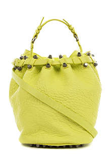 ALEXANDER WANG Diego pebbled leather bucket bag with nickel hardware