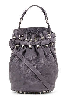 ALEXANDER WANG Diego pebbled leather bucket bag with silver hardware
