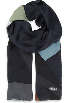 FENDI Colourblock silk scarf