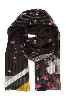 FENDI Flowers and stripe silk scarf