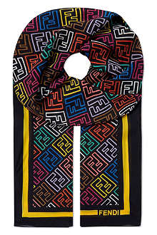FENDI Multicolour logo silk scarf