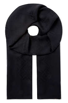 FENDI Smooth silk logo scarf
