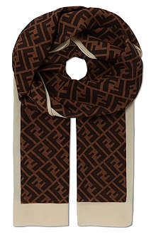 FENDI Block edge silk logo scarf
