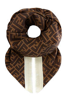 FENDI Blocked edge silk scarf