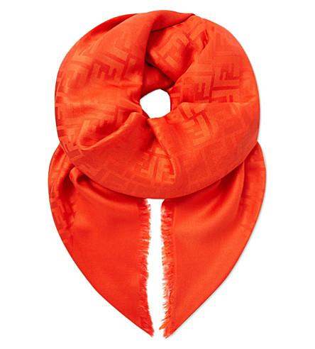 FENDI Square silk scarf (Red