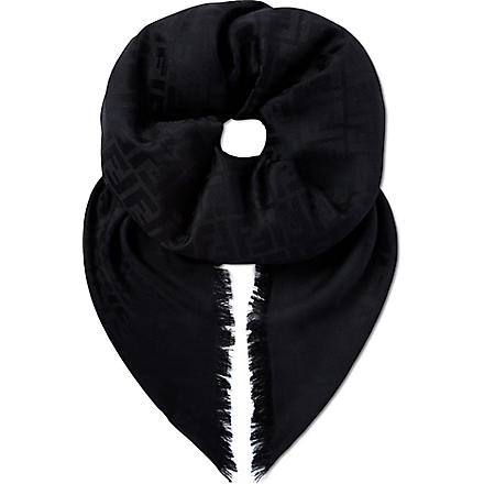 FENDI Square silk scarf (Black