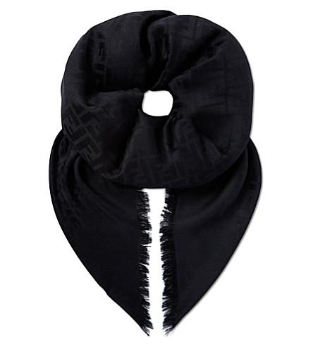 FENDI Square silk scarf (Black