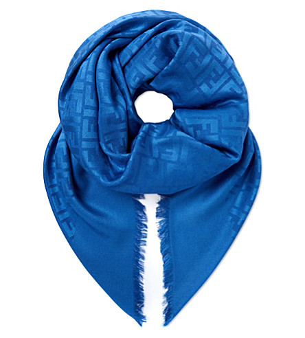 FENDI Square silk scarf (Blue
