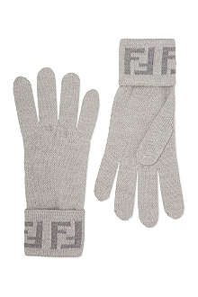 FENDI Logo wool gloves