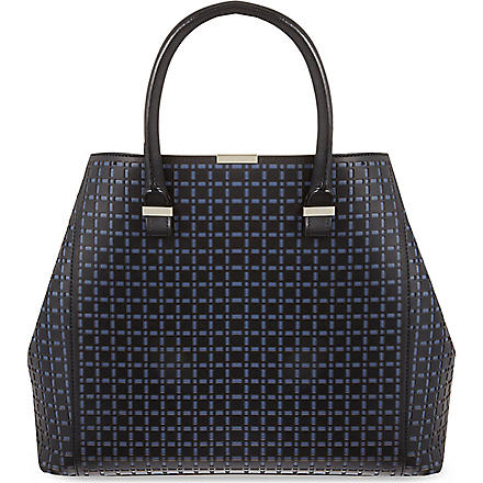 VICTORIA BECKHAM Liberty perforated tote (Black / storm grey