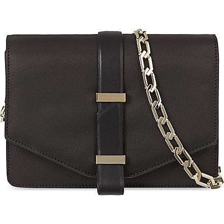 VICTORIA BECKHAM Mini leather satchel with chain (Black