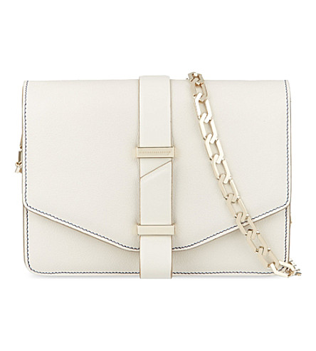VICTORIA BECKHAM Mini leather satchel with chain (Moonshine