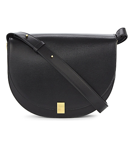 VICTORIA BECKHAM Half moon leather cross-body bag (Black
