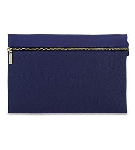 VICTORIA BECKHAM Large leather zipped pouch (Moroccan+blue