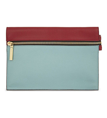 VICTORIA BECKHAM Small leather zipped pouch (Colourblock